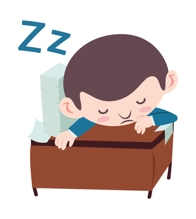 Businessman sleeping on desk. Illustration
