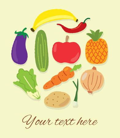 Healthy fruits and vegetables doodle background Illustration
