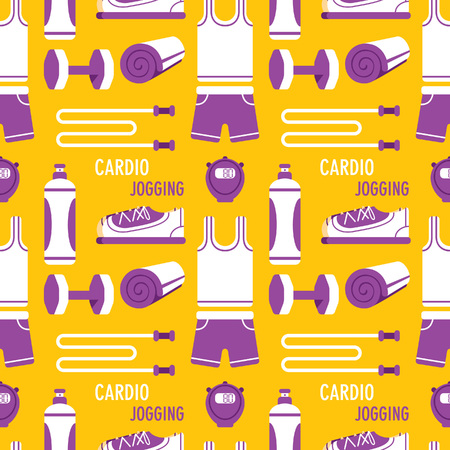 repeated: Fitness equipment background, vector illustration.