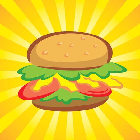 Hamburger icon on yellow burst background Illustration