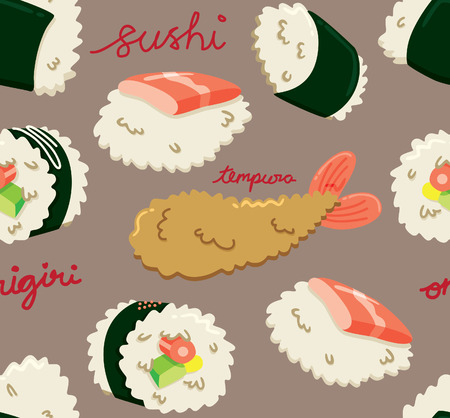 Japanese food seamless background