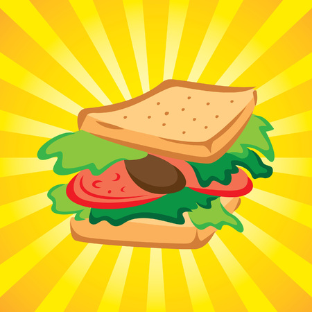Sandwich vector with yellow burst background Illustration