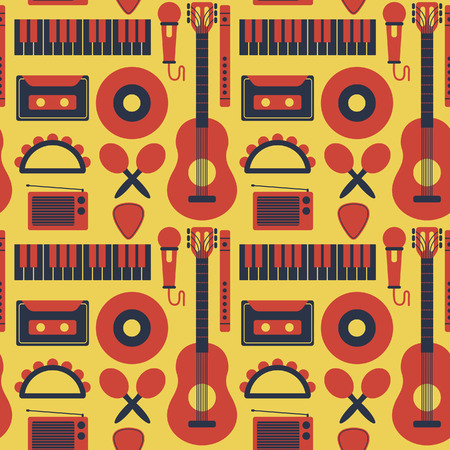 Music instruments seamless background