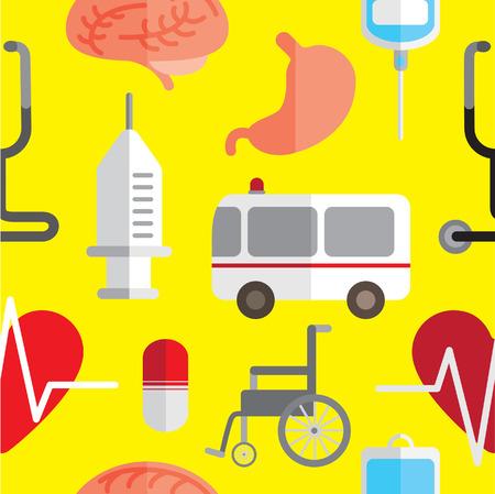 hospital theme icon seamless background