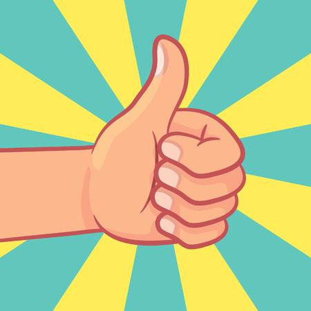 Thumbs up icon on burst background
