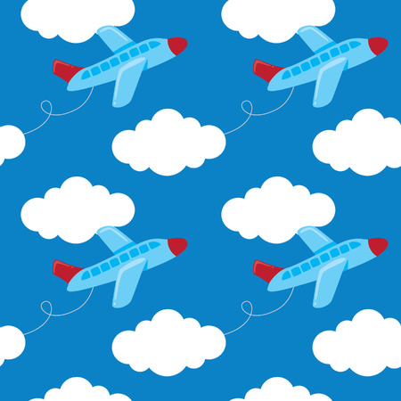 repeated: A cartoon airplane with cloud seamless background illustration.