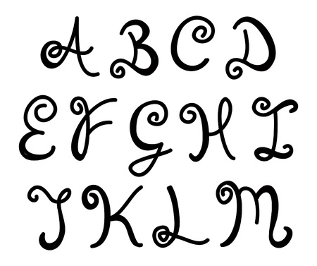italics: hand drawn curly letters