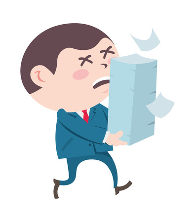 overload: Office worker carrying stack of paper Illustration