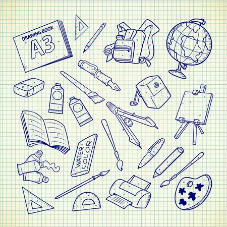 Útiles escolares doodle. Ilustración vectorial Ilustración de vector