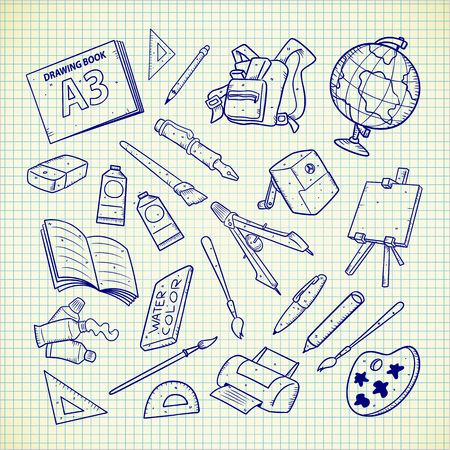School supplies doodle. Vector illustration.