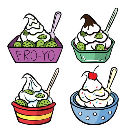 Set of frozen yogurt on a cup. Vector illustration. Vectores