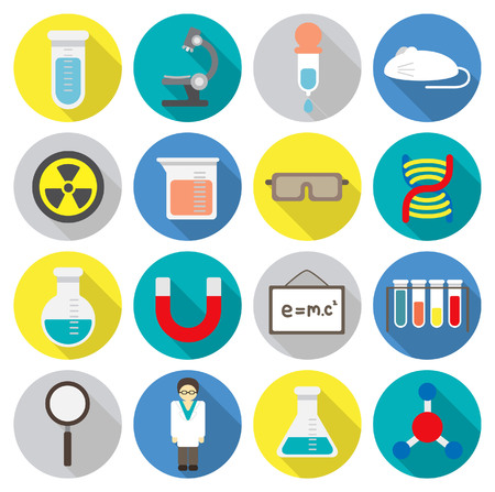Set of science laboratory flat icon Illustration