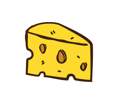 Cheese doodle in white background Illustration