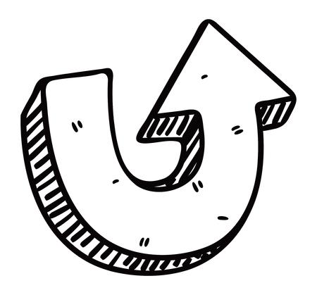 U turn arrow doodle