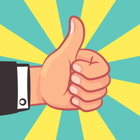 A thumbs up hand with burst background illustration. Illustration