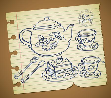 Set of tea time doodle