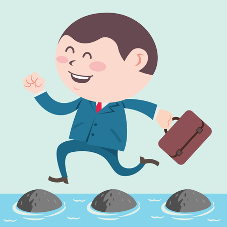 Business man running through stepping stone