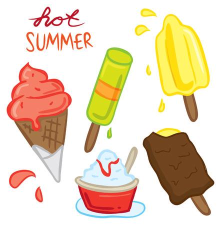 set of ice cream doodle