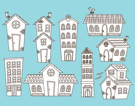 set of building doodle Vektorové ilustrace