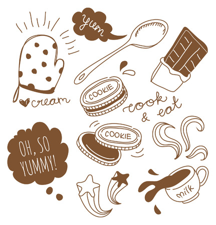 Cookies and hot chocolate doodle Illustration