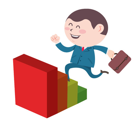 Hombre de negocios de dibujos animados subir las escaleras Foto de archivo - 83212248
