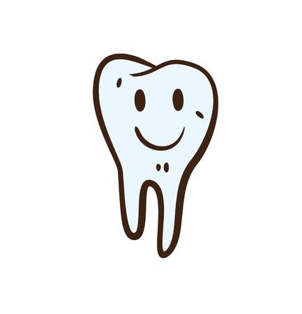 Cartoon tooth doodle. Vector illustration.