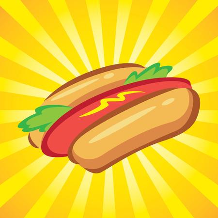 Hot dog with burst background. Vector illustration. Illustration