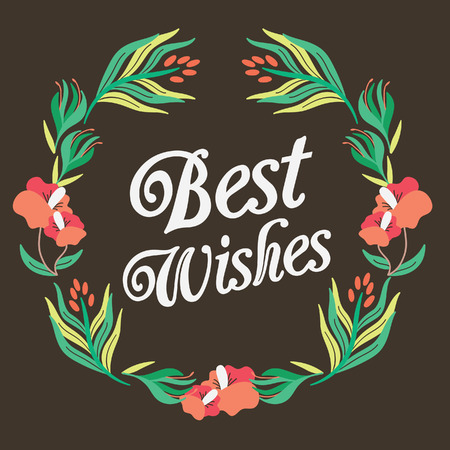 Best wishes floral wreath.