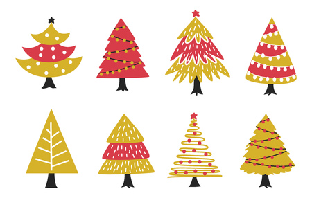 Set of decorated Christmas tree.