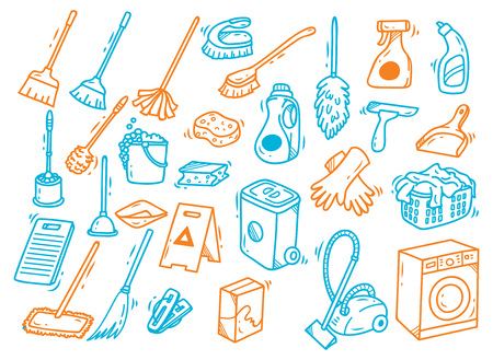 Set of cleaning equipment in doodle style. Иллюстрация
