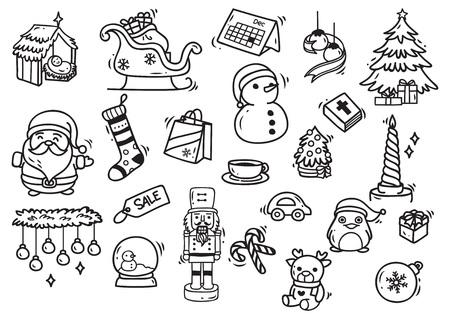 Set of Christmas doodle element Иллюстрация