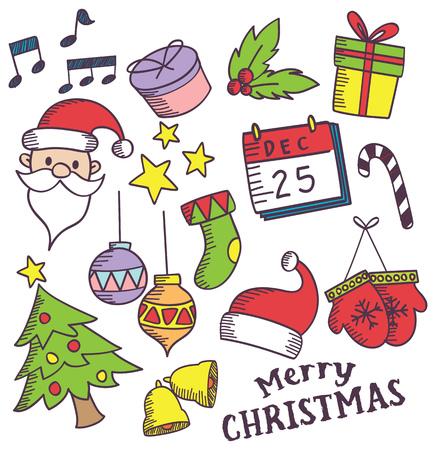 Satz von Weihnachtsgekritzel Standard-Bild - 84782087