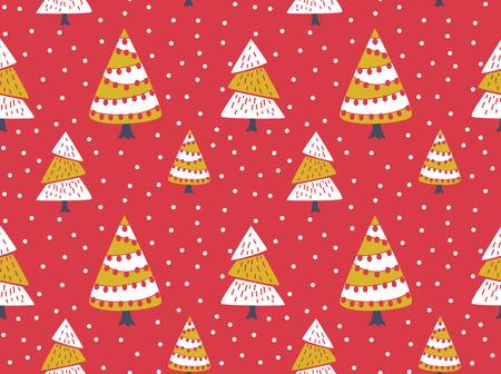 Nahtloser Hintergrund des Winters mit verziertem Weihnachtsbaum Standard-Bild - 84782086