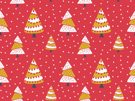 winter seamless background with decorated Christmas tree Imagens - 84782086