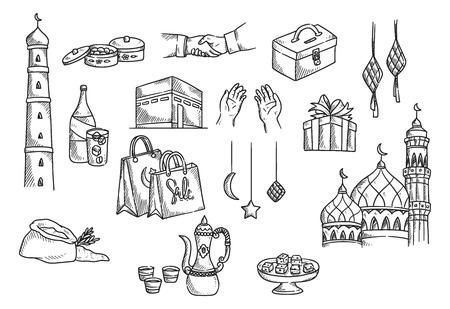 Islamic doodle, suitable for Eid al adha celebration. Illustration