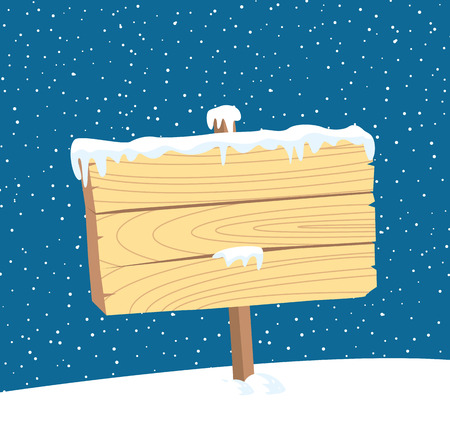 Wooden plank with snow background.