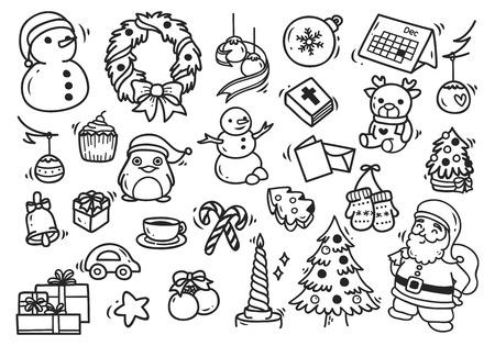Christmas doodle set.