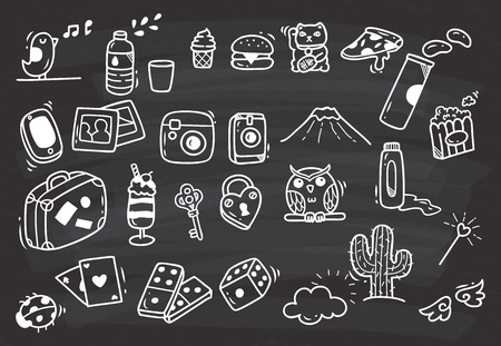 Set of various cute doodle on chalk board background.