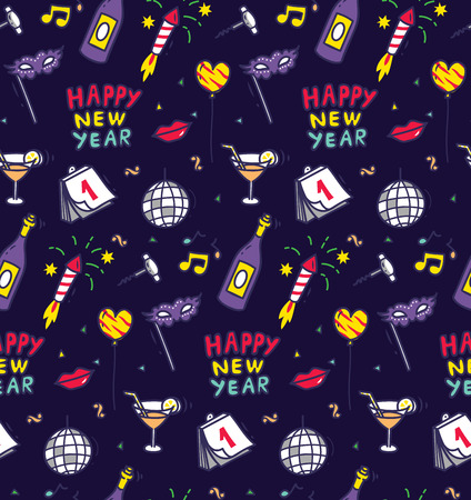 New year doodle seamless background. Иллюстрация