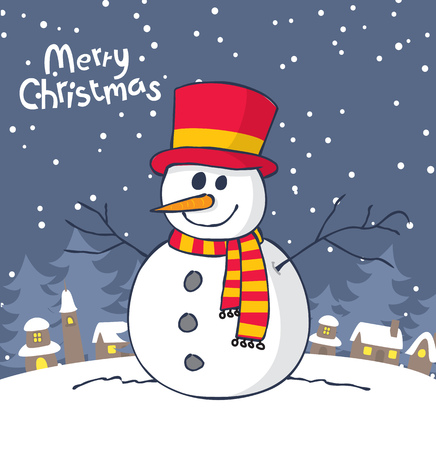 Christmas greeting card with snowman. Иллюстрация