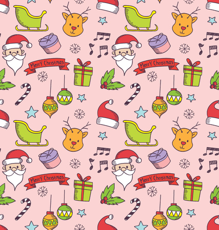 Christmas seamless background in doodle style. Иллюстрация