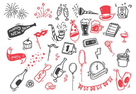 Neujahrs-Doodle-Set Standard-Bild - 84925948