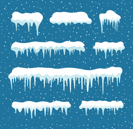 Set of cartoon snow design element on blue background