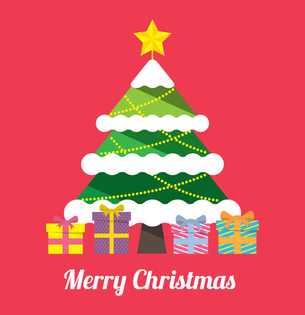 Christmas greeting card with Christmas tree in flat style illustration
