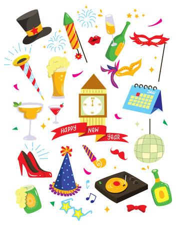 Set of New year celebration doodle