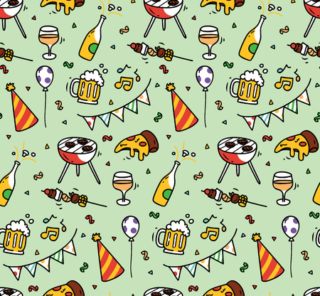 Party doodle seamless background Иллюстрация