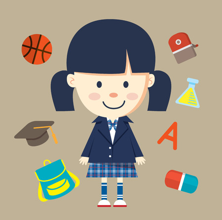 Cute little girl with school uniform and object related to school