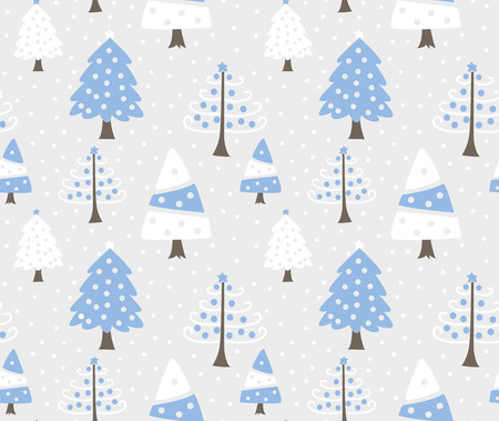 Christmas tree doodle seamless background
