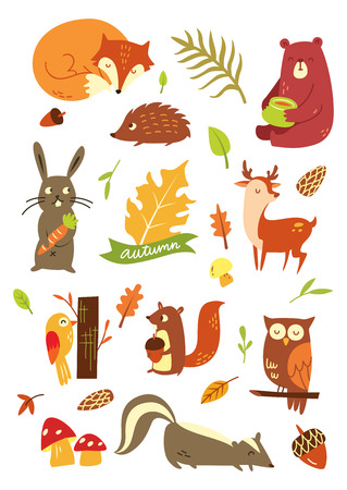 Cartoon autumn animal isolated on white Иллюстрация