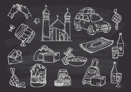 Eid mubarak doodle vector illustration.